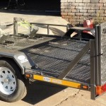 Custom triple bike trailer with fold down ramp