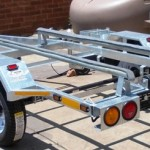 Single galvanized jet ski trailer with 10l jerry can holders